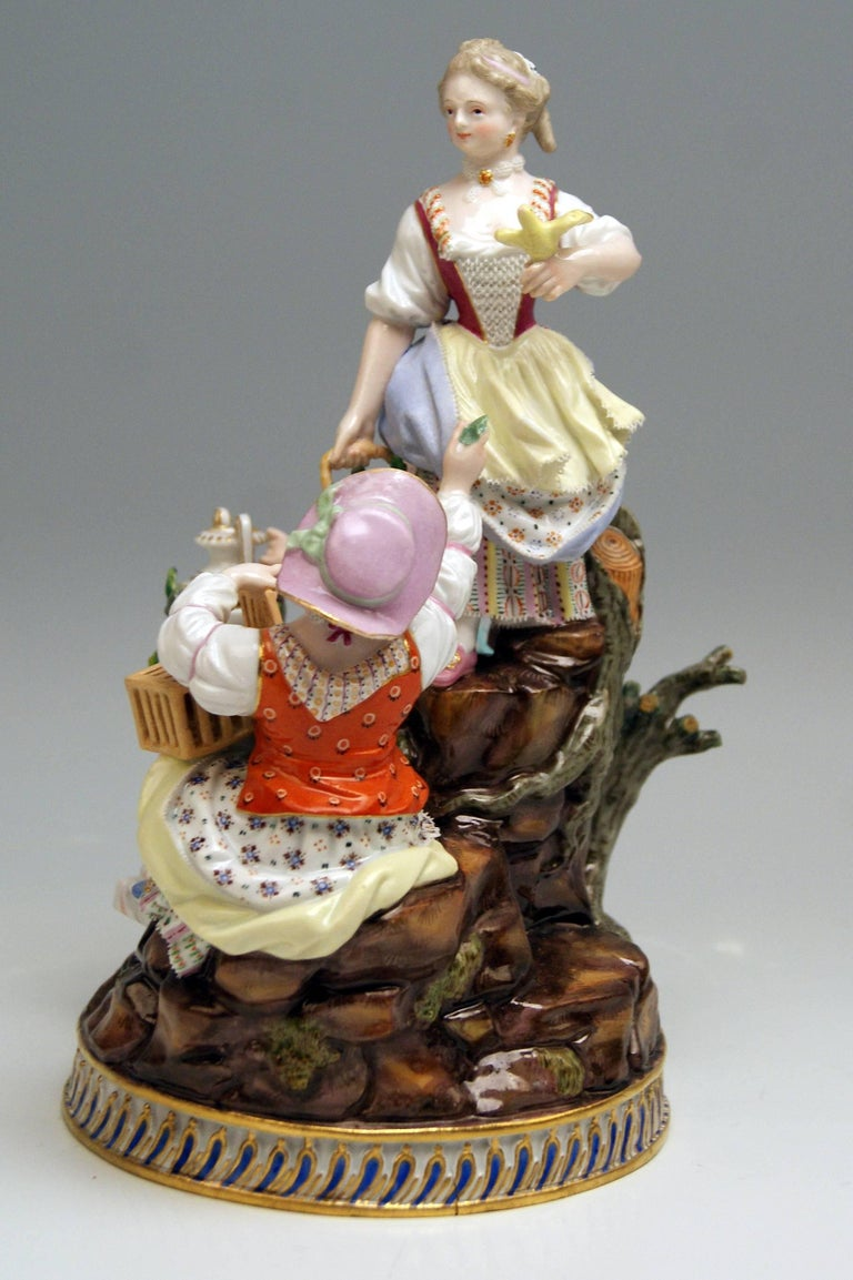 Rococo Meissen Gardener Figurines Model F 94 Michel Victor Acier made circa 1830-1840 For Sale