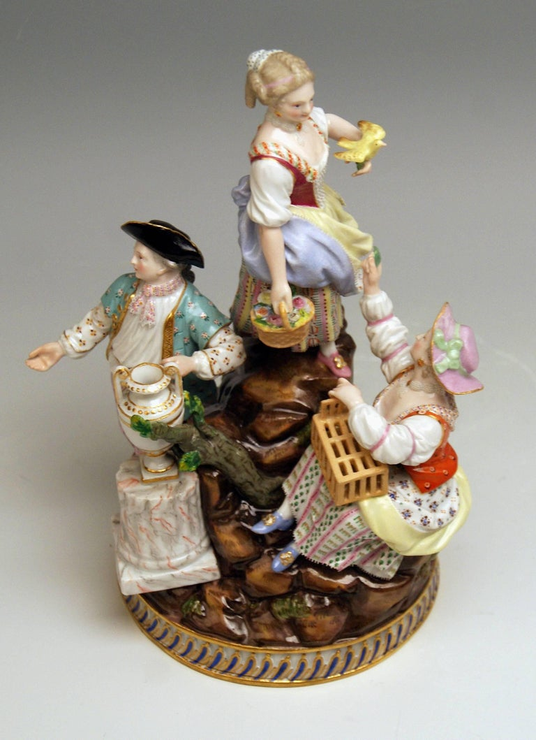 Mid-19th Century Meissen Gardener Figurines Model F 94 Michel Victor Acier made circa 1830-1840 For Sale