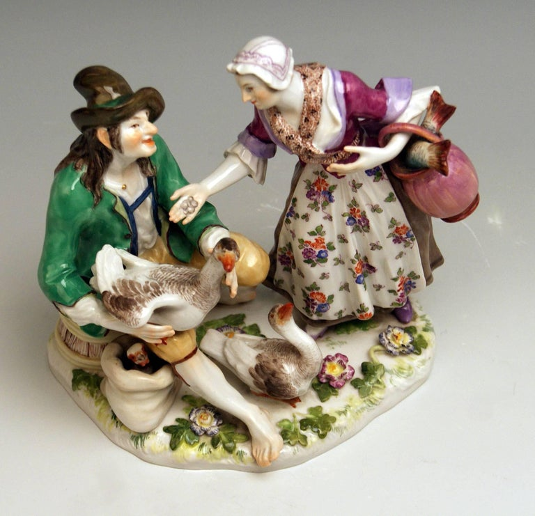 Glazed Meissen Deal with Goose Model 720 Johann Joachim Kaendler Made circa 1850-1860 For Sale
