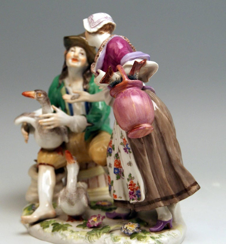 Meissen stunning figurine group: The Deal with Goose