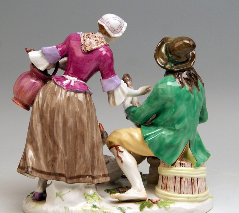 German Meissen Deal with Goose Model 720 Johann Joachim Kaendler Made circa 1850-1860 For Sale
