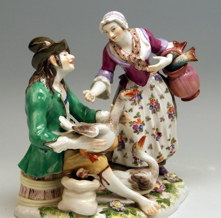 Rococo Meissen Deal with Goose Model 720 Johann Joachim Kaendler Made circa 1850-1860 For Sale