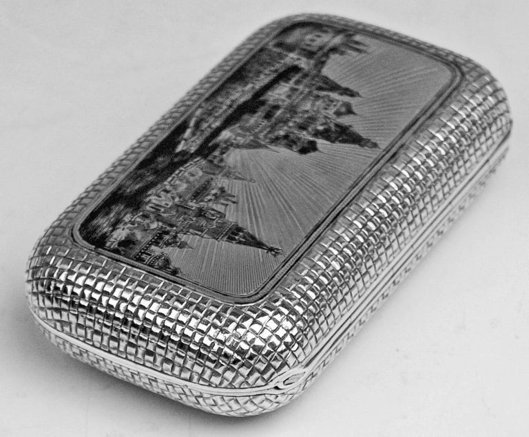 Other Silver 875 Russian Cigarette Case Etched Engraved Picture Moscow Kremlin, 1877 For Sale