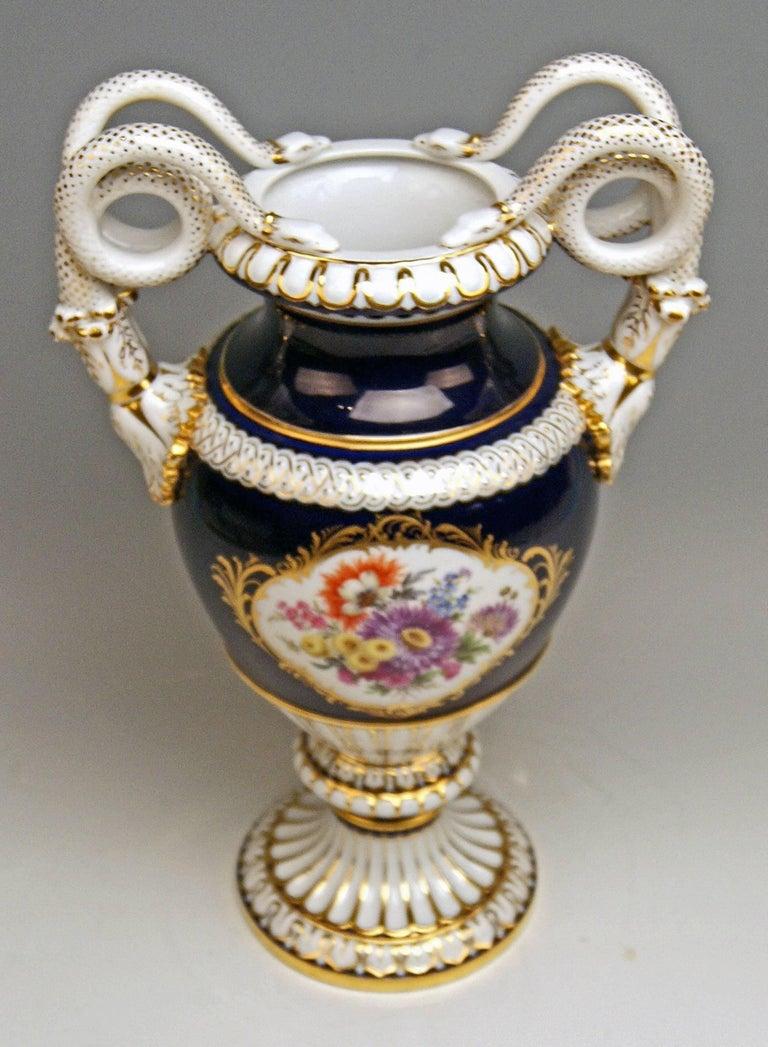 Empire Revival Meissen Snake Handles Vase Painted Designed by Leuteritz, circa 1924-1934 For Sale