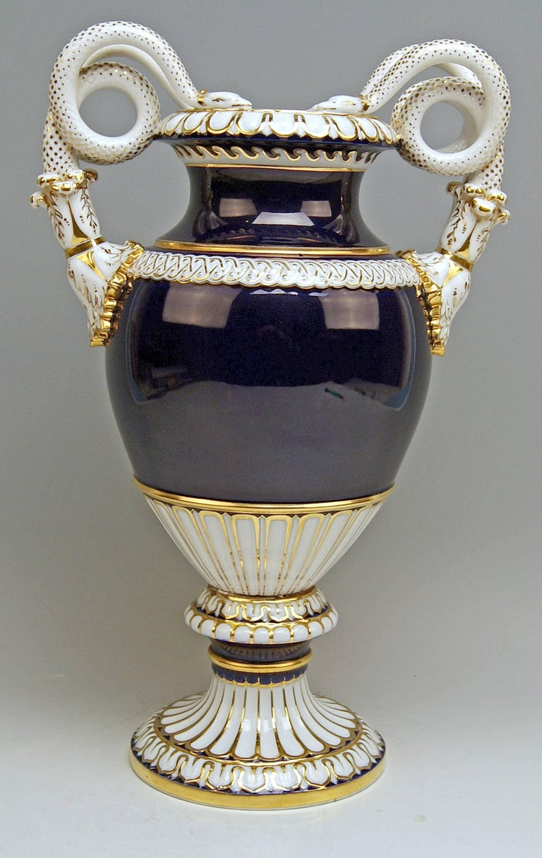 Meissen Snake Handles Vase / designed by Leuteritz   Manufactory: Meissen  Dating: made during Pfeiffer Period 1924 - 34  Hallmarked: Meissen Mark with Point above the Swords (= Pfeiffer Period) FIRST QUALITY model number E 116 / former's