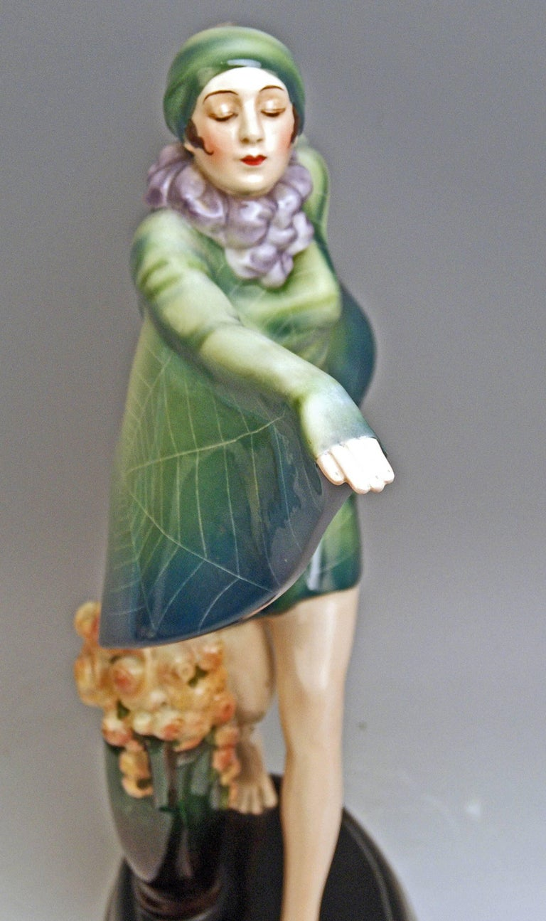 Painted Goldscheider Vienna Lorenzl Dancing Butterfly Lady Captured Bird Nr.5230 For Sale