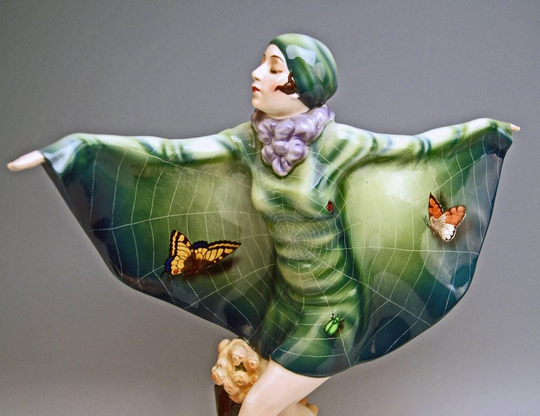 Mid-20th Century Goldscheider Vienna Lorenzl Dancing Butterfly Lady Captured Bird Nr.5230 For Sale