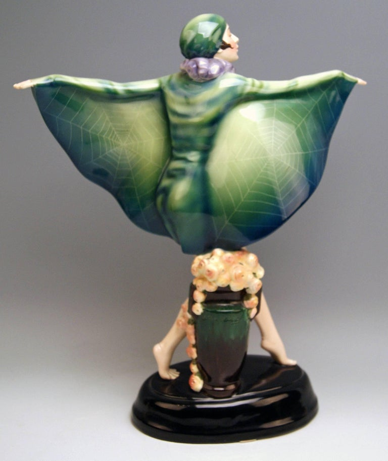 Art Deco Goldscheider Vienna Lorenzl Dancing Butterfly Lady Captured Bird Nr.5230 For Sale