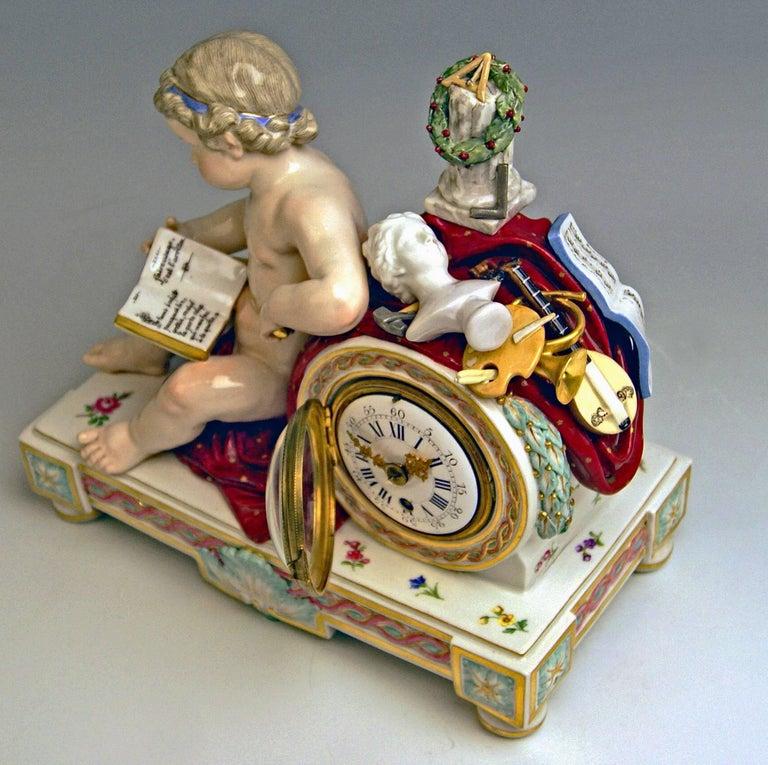 Meissen Mantel Table Clock Cherub The Fine Arts by Michel V. Acier, circa 1860 In Excellent Condition For Sale In Vienna, AT