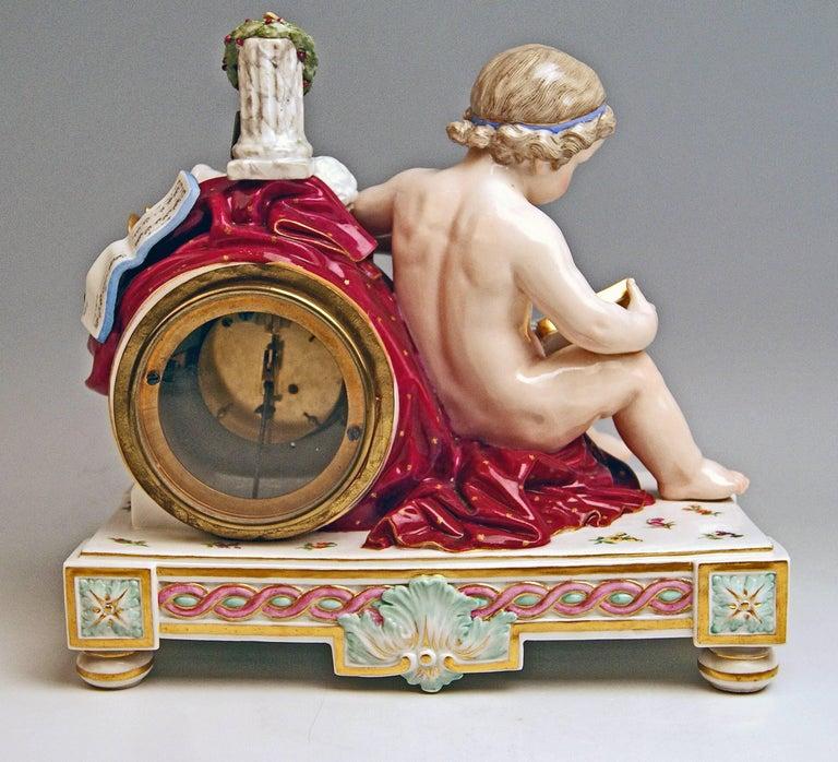 Rococo Meissen Mantel Table Clock Cherub The Fine Arts by Michel V. Acier, circa 1860 For Sale