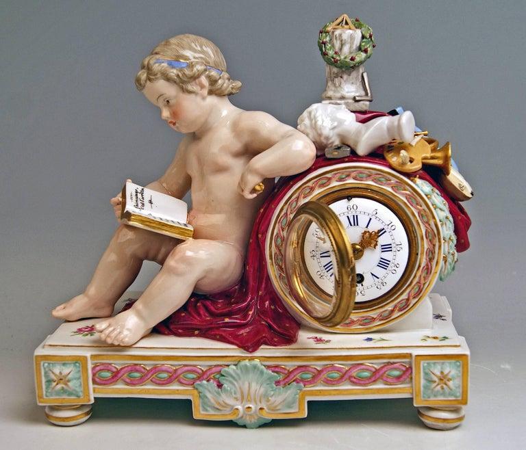 Painted Meissen Mantel Table Clock Cherub The Fine Arts by Michel V. Acier, circa 1860 For Sale