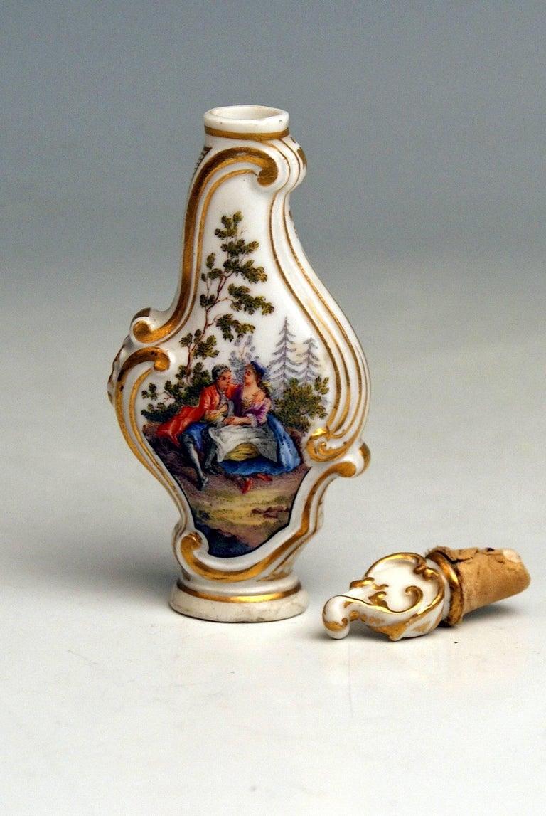 Glazed Meissen Scent Bottle Rocaille En Miniature Watteau Pictures Painted Made For Sale