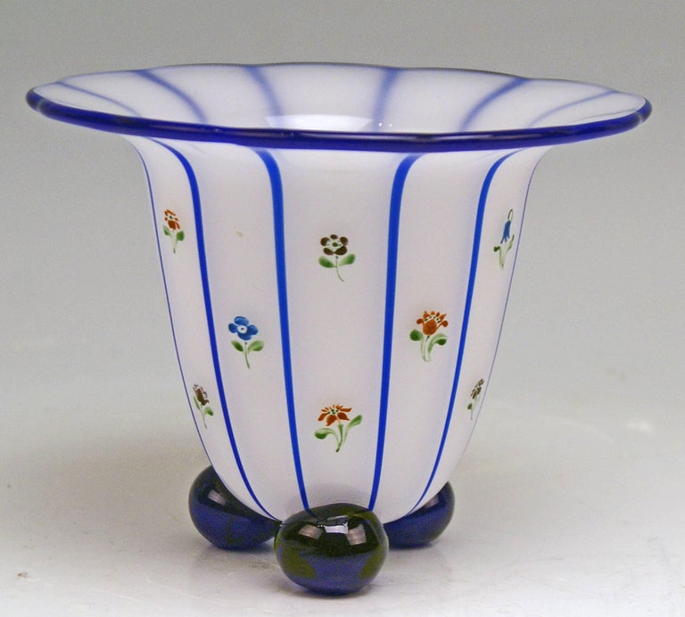 Vase Loetz (Lötz) Widow Klostermuehle Bohemia Art Nouveau  Striped pattern once created by Michael Powolny (1871 - 1954) in year 1914, on behalf of the so-said Werkbund. This vase presented here is a variant of Powolny's design made by Loetz