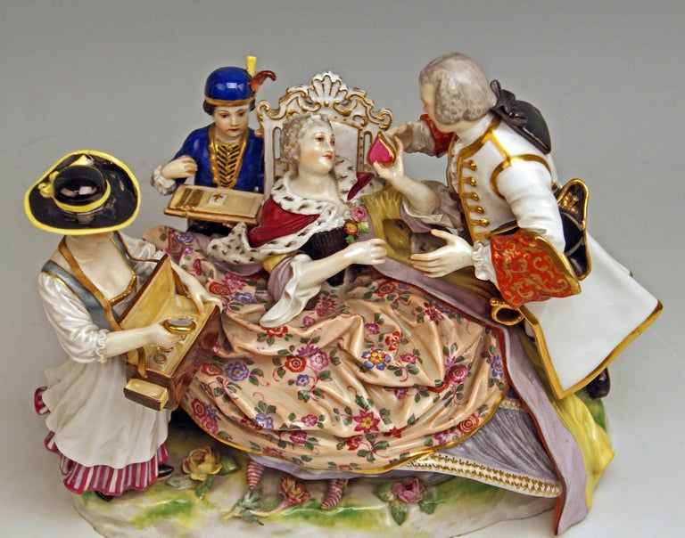 Meissen Gallant Figurines the Sale of Heart Box Model 100, Kaendler, circa 1860 5