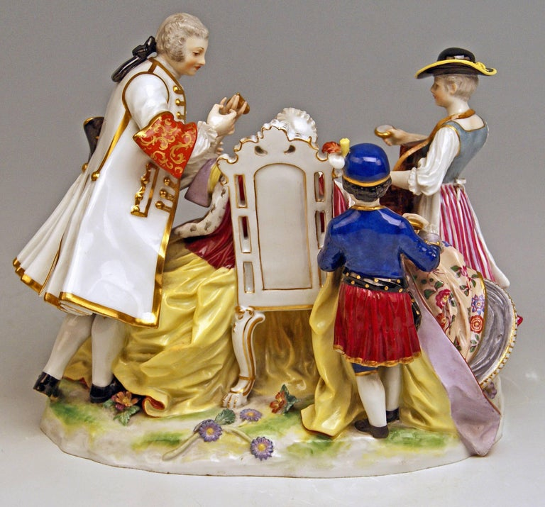 Meissen Gallant Figurines the Sale of Heart Box Model 100, Kaendler, circa 1860 4