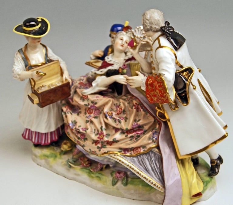 Meissen Gallant Figurines the Sale of Heart Box Model 100, Kaendler, circa 1860 7