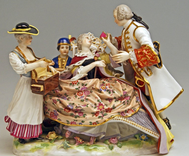 Meissen Gallant Figurines the Sale of Heart Box Model 100, Kaendler, circa 1860 6