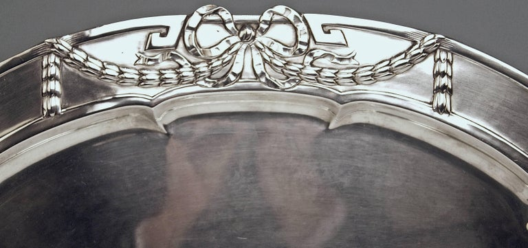 AUSTRIAN SILVER EXCELLENT SERVING PLATTER VIENNA  Art Nouveau  /  made circa 1910 Length 20.86 inches Most elegant oval Silver Art Nouveau Serving Platter of gorgeous appearance. The platter's middle area has smooth surface / its edge is decorated