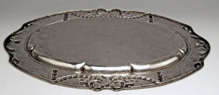 20th Century Silver 800 Austria Art Nouveau Serving Platter by H. Südfeld For Sale