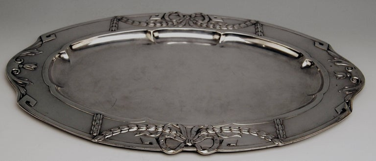 Silver 800 Austria Art Nouveau Serving Platter by H. Südfeld In Excellent Condition For Sale In Vienna, AT
