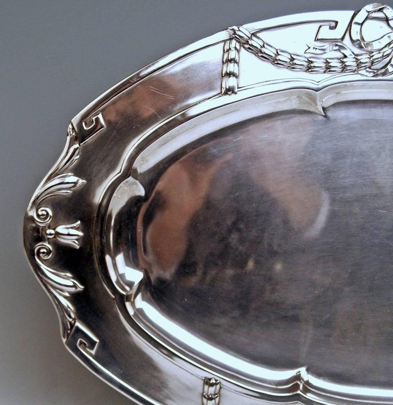 Austrian Silver 800 Austria Art Nouveau Serving Platter by H. Südfeld For Sale