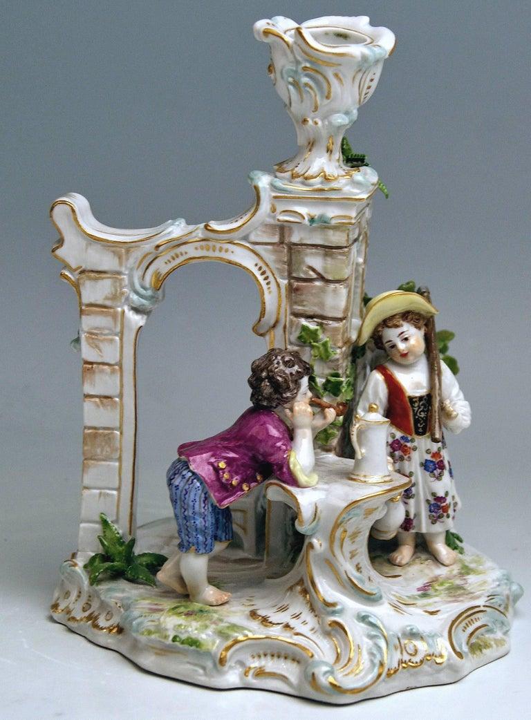 Rococo Meissen Candlestick with Figurines Gardener Children Model R 185, circa 1870 For Sale