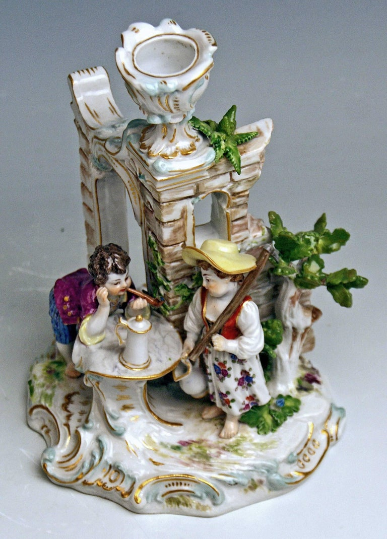 Painted Meissen Candlestick with Figurines Gardener Children Model R 185, circa 1870 For Sale