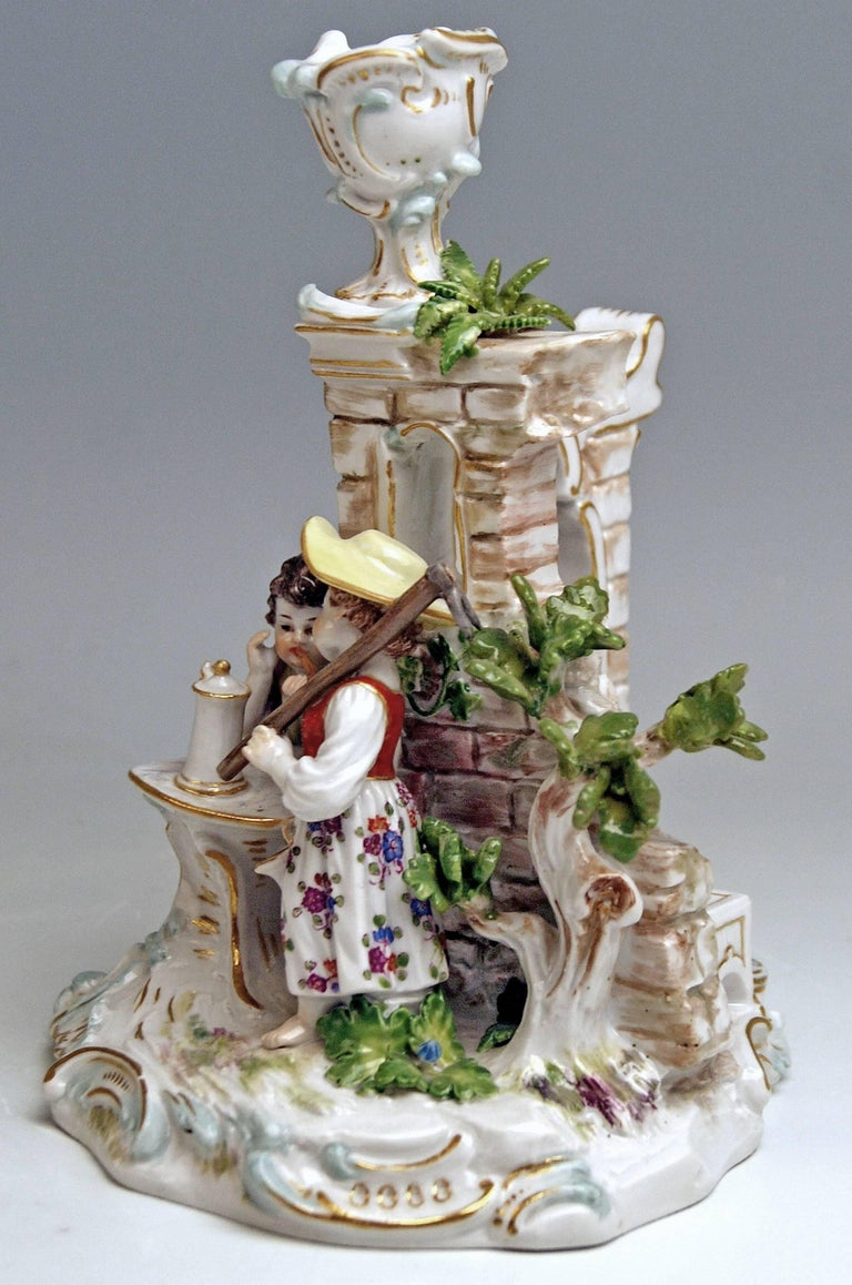 Meissen Rare Item:  Candlestick with Gardener Figurines  Manufactory: Meissen Hallmarked:  Blue Meissen Sword Mark with Pommels on Hilts Model Number R 185 Former's Number  13 Painter's Number 83 FIRST QUALITY   Dating:    made circa 1870