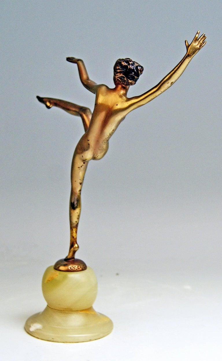 Austrian Vienna Bronze Art Deco Lady Nude Dancer Josef Lorenzl Onyx Base, circa 1925-1930 For Sale
