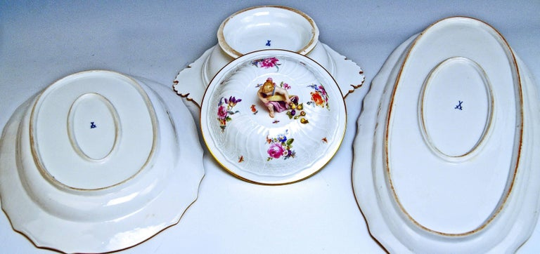 Painted Meissen Dinner Set Neubrandenstein Six Persons Kaendler Eberlein Made circa 1850 For Sale
