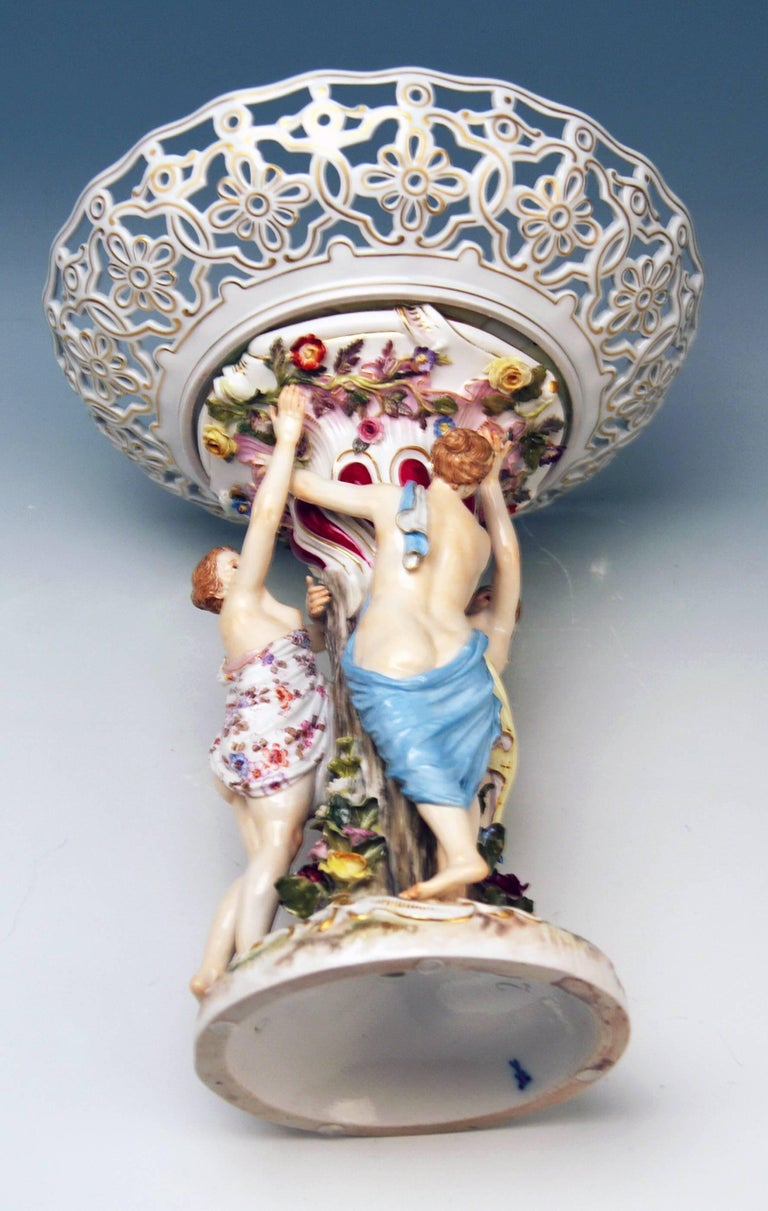 German Meissen Centrepiece Fruit Bowl the Three Charities Sculptured Figurines For Sale