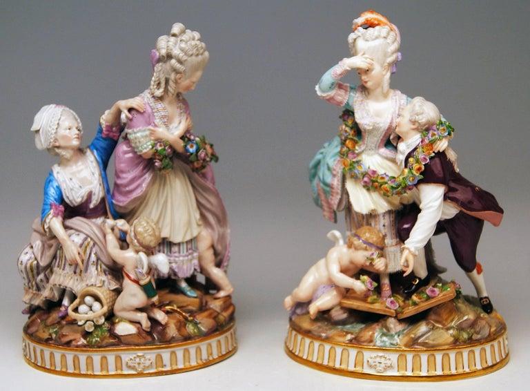 German Meissen Pair Figurines The Broken Bridge and The Broken Eggs  Michel Acier, 1860 For Sale