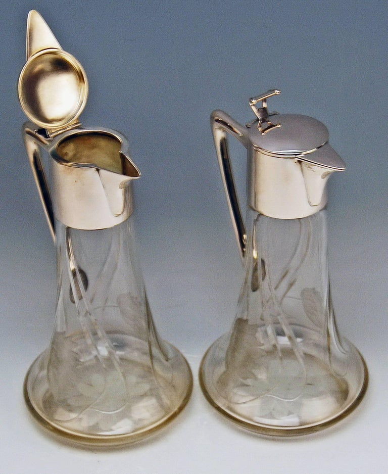 Silver 800 Two Jugs Decanters Glass Art Nouveau Alexander Birkl Vienna, 1900 In Excellent Condition For Sale In Vienna, AT