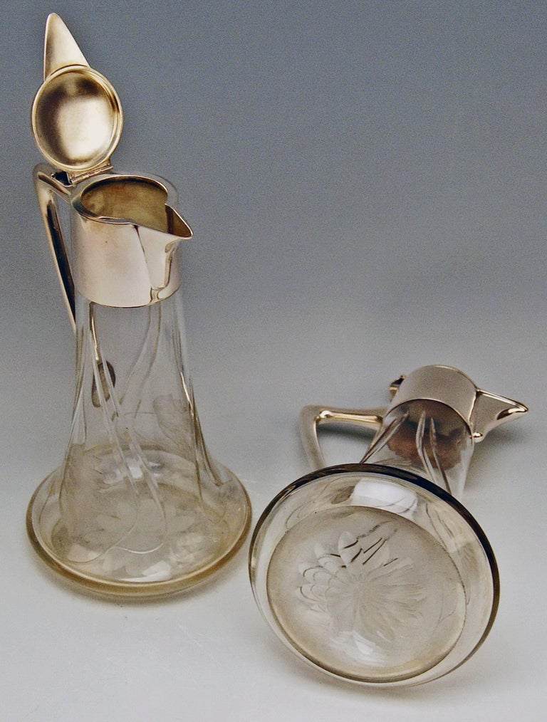 Early 20th Century  Silver 800 Two Jugs Decanters Glass Art Nouveau Alexander Birkl Vienna, 1900 For Sale