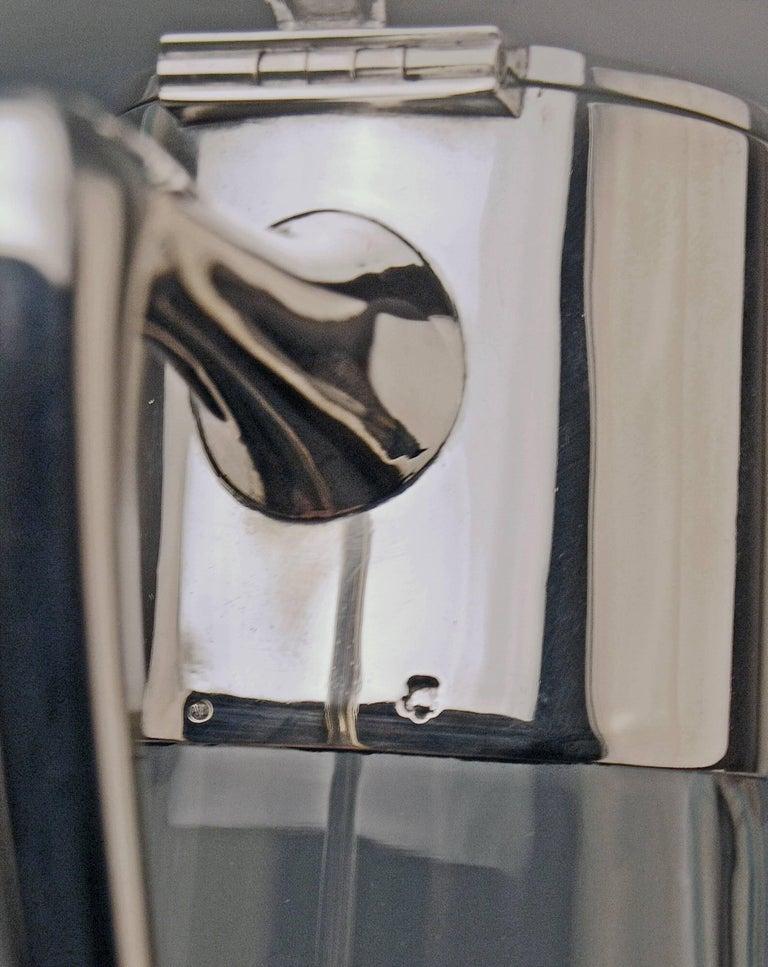 Silver 800 Two Jugs Decanters Glass Art Nouveau Alexander Birkl Vienna, 1900 For Sale 1