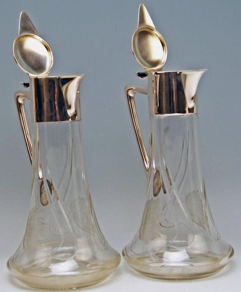 Etched  Silver 800 Two Jugs Decanters Glass Art Nouveau Alexander Birkl Vienna, 1900 For Sale