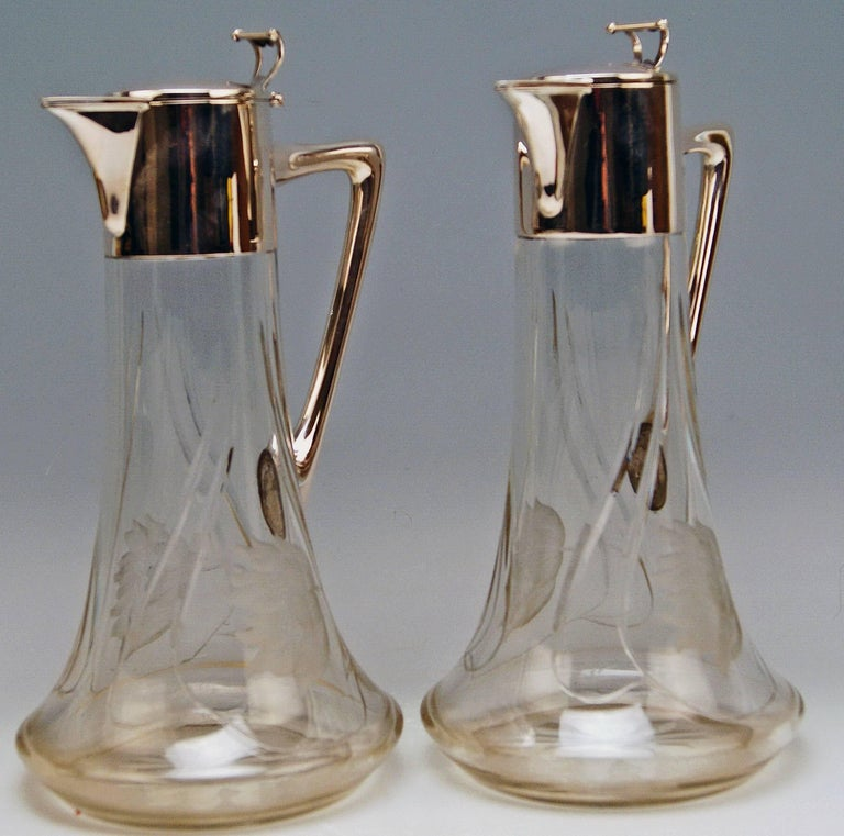 Austrian  Silver 800 Two Jugs Decanters Glass Art Nouveau Alexander Birkl Vienna, 1900 For Sale