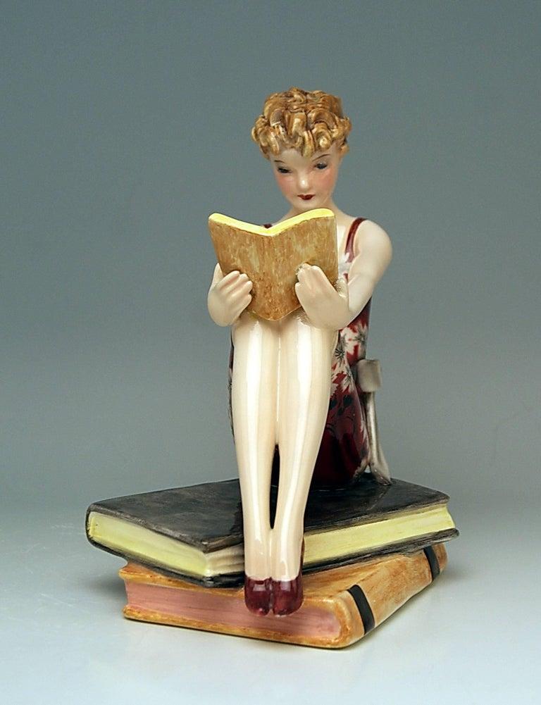 Goldscheider Vienna Art Deco Lady with Books by Stefan Dakon Model 7561 3