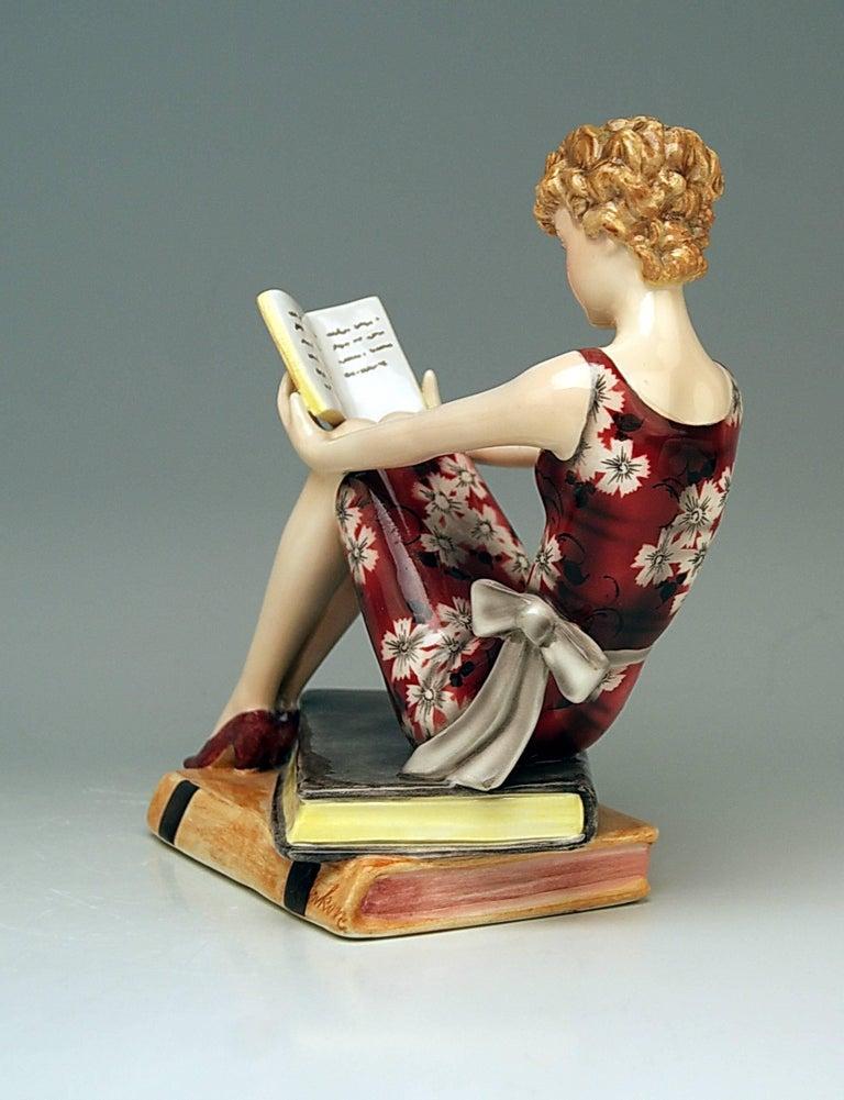 Goldscheider Vienna Art Deco Lady with Books by Stefan Dakon Model 7561 4