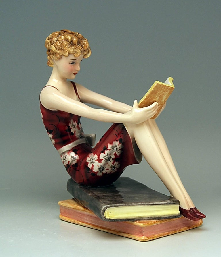 Goldscheider Vienna Art Deco Lady with Books by Stefan Dakon Model 7561 2