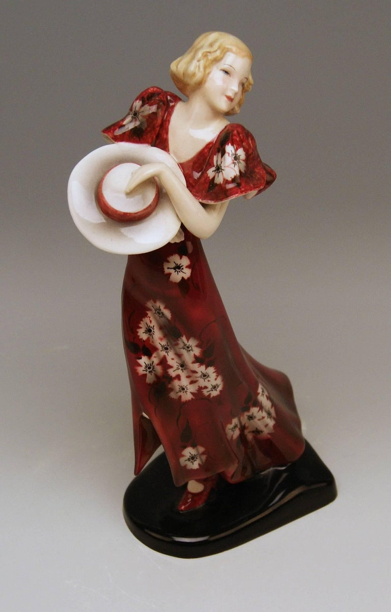 Goldscheider Vienna Art Deco Lady Hat Red Dress Stefan Dakon Model 6940 6