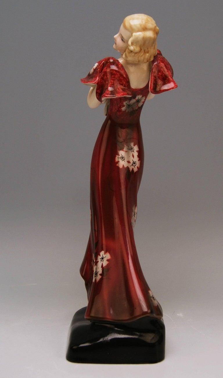 Goldscheider Vienna Art Deco Lady Hat Red Dress Stefan Dakon Model 6940 4