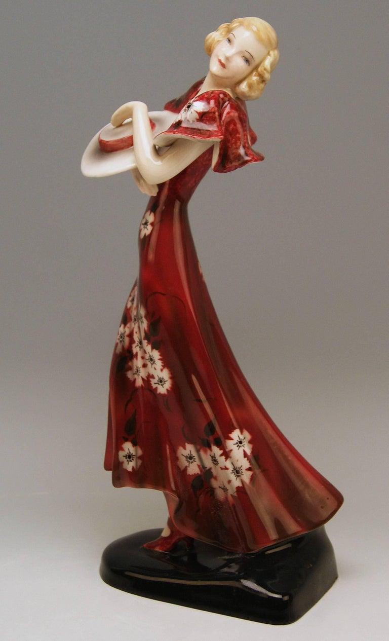 Goldscheider Vienna Art Deco Lady Hat Red Dress Stefan Dakon Model 6940 2
