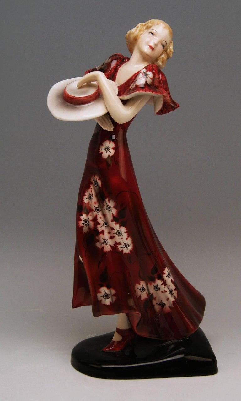 Goldscheider Vienna Art Deco Lady Hat Red Dress Stefan Dakon Model 6940 5