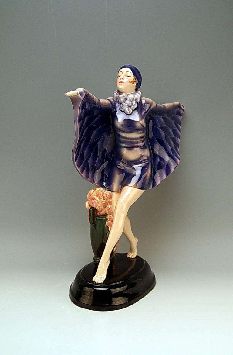 Goldscheider Vienna gorgeous dancingy lady figurine: the captured bird