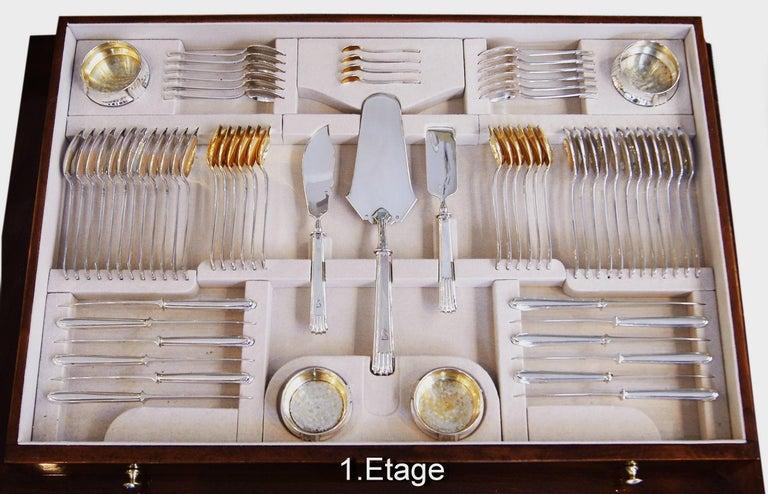 Art Nouveau Silver 800 186-Piece Flatware Cutlery Set 12 Persons V.C.Dub Austria Vienna 1915 For Sale