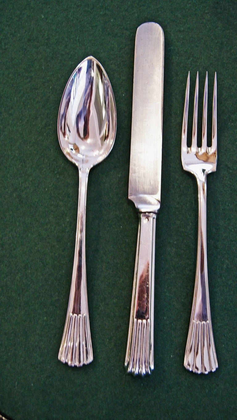 Silver 800 186-Piece Flatware Cutlery Set 12 Persons V.C.Dub Austria Vienna 1915 For Sale 1