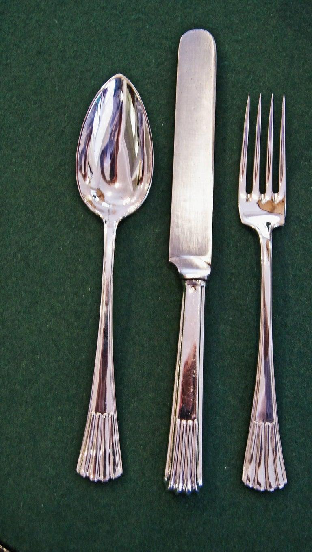 Silver 800 186-Piece Flatware Cutlery Set 12 Persons V.C.Dub Austria Vienna 1915 7