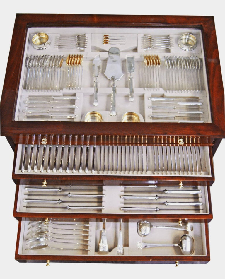 Silver 186-piece Art Nouveau flatware (cutlery set) for 12 persons, made by Vincenz Carl Dub, Austria / Vienna, c.1915  Gorgeous Austrian cutlery set  /  flatware   /  dinnerware consisting of 186 pieces. Most elegant design  =  so-said