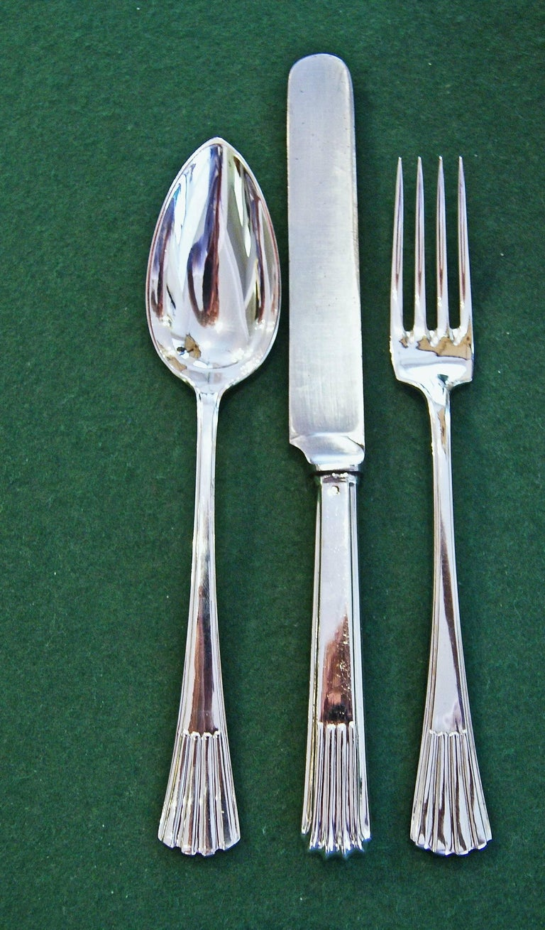 Silver 800 186-Piece Flatware Cutlery Set 12 Persons V.C.Dub Austria Vienna 1915 For Sale 3